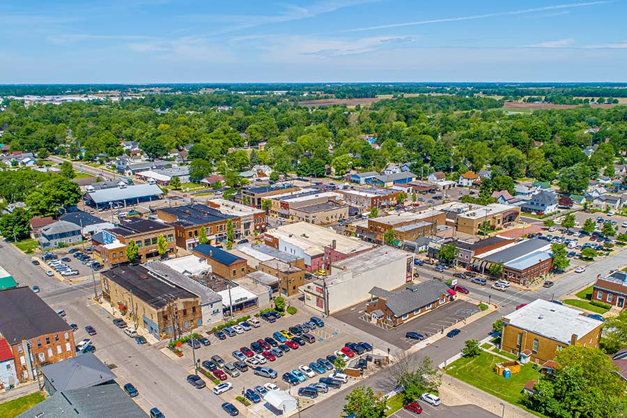 Indiana - Aerial View Of Small Town In Indiana On Sunny Day